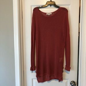 Rust colored net-like long tunic w/ button detail